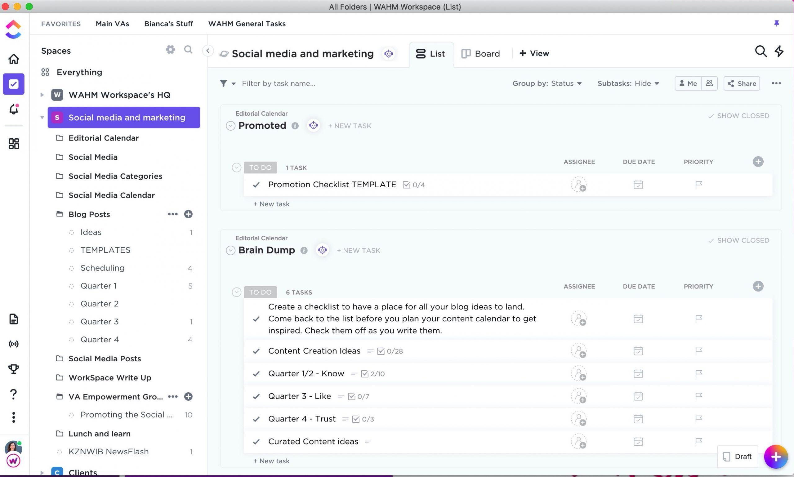 Screenshot of a VA team task management software - ClickUp